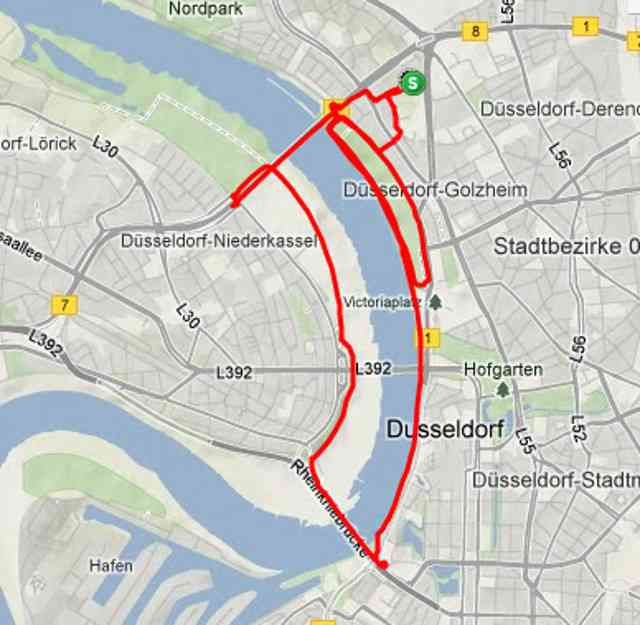 The Route for my Düsseldorf runaround