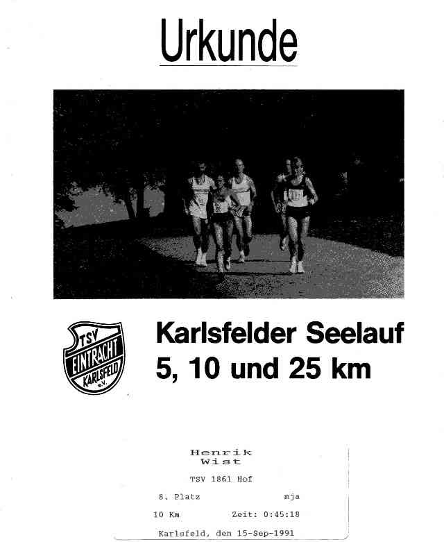 My 10km race in Karlsfeld 1991